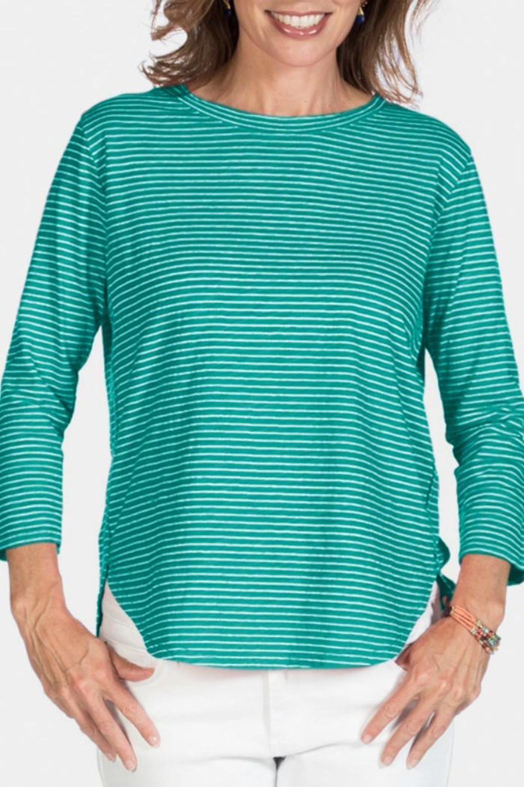 Fresh Produce Pinstripe Cotton Top - Main Image