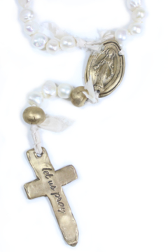 Shoptiques Product: FRESHWATER PEARL ROSARY WITH 6 BRONZE AND OVAL MIRACULOUS MEDAL-17.5 IN