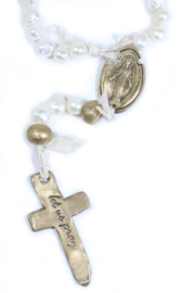 The Birds Nest FRESHWATER PEARL ROSARY WITH 6 BRONZE AND OVAL MIRACULOUS MEDAL-17.5 IN - Front full body