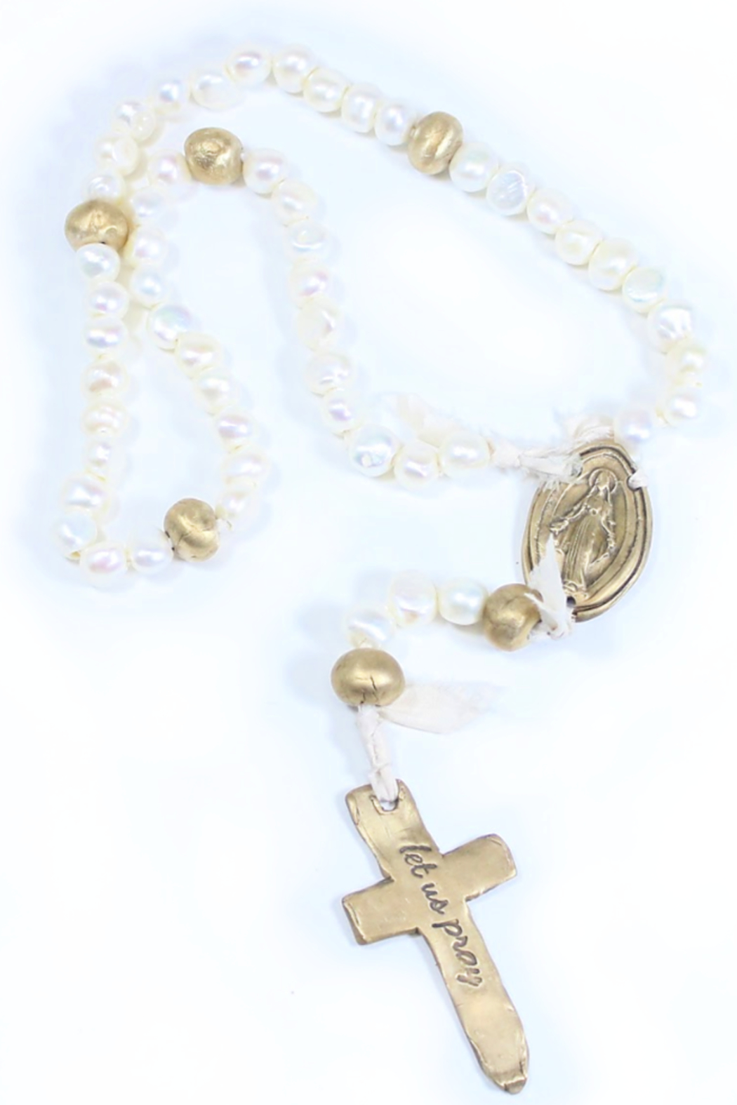 The Birds Nest FRESHWATER PEARL ROSARY WITH 6 BRONZE AND OVAL MIRACULOUS MEDAL-17.5 IN - Front Cropped Image
