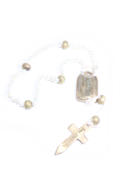 Shoptiques Product: FRESHWATER PEARL ROSARY WITH BRONZE MEDAL-17.5 in
