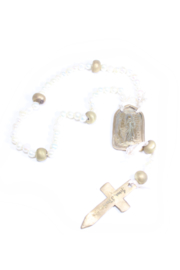 The Birds Nest FRESHWATER PEARL ROSARY WITH BRONZE MEDAL-17.5 in - Product Mini Image