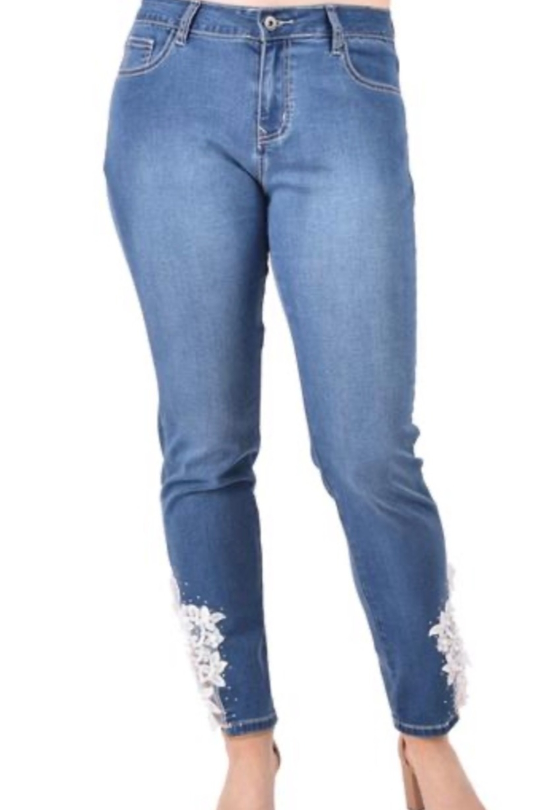 Ethyl Fresno ankle skinny jean with lace trim - Main Image