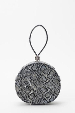 Freya Mini Poppy Round Leather Bag, Black Python Embossed - Product List Image