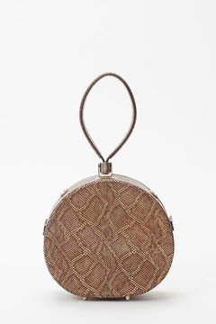 Freya Mini Poppy Round Leather Bag, Camel Python - Product List Image