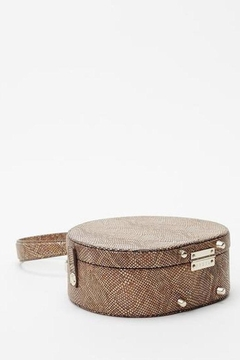 Freya Mini Poppy Round Leather Bag, Camel Python - Alternate List Image