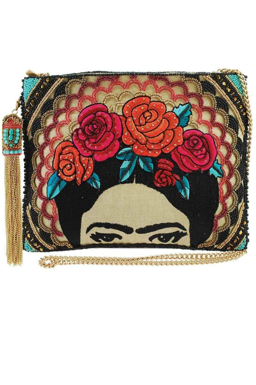 Mary Frances  Frida Beaded-Embroidered Crossbody Clutch Handbag - Front Cropped Image