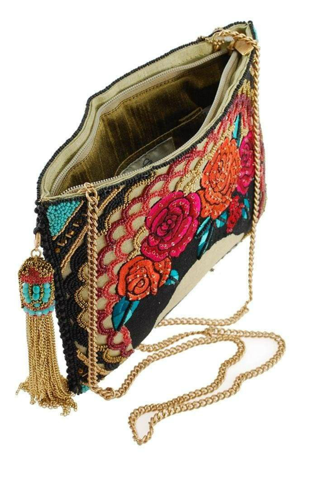 Mary Frances  Frida Beaded-Embroidered Crossbody Clutch Handbag - Side Cropped Image