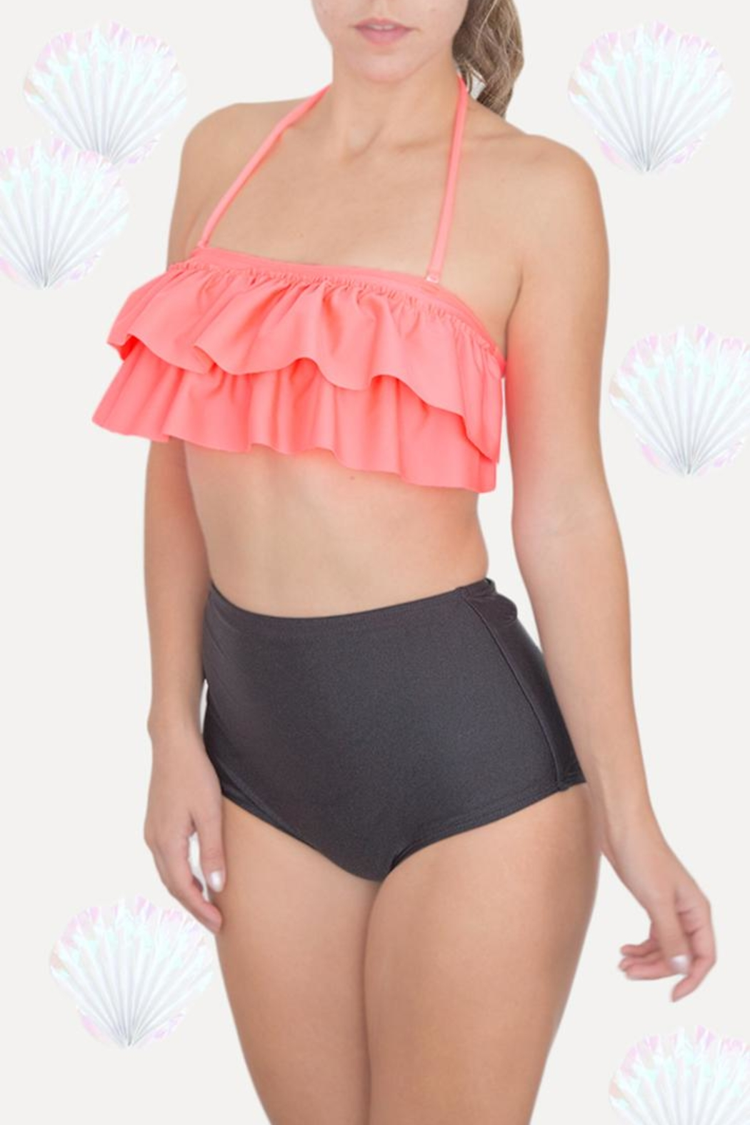 Fridasch swimwear Coral Black Bikini-Set - Side Cropped Image