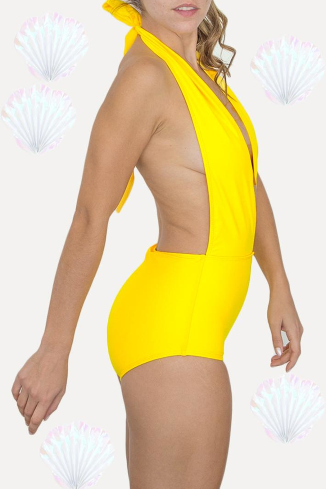 Fridasch swimwear Yellow One-Piece Swimsuit - Front Full Image