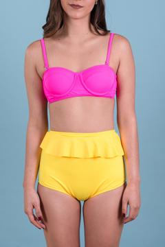 Shoptiques Product: Yellow Pink Peplum Swimwear