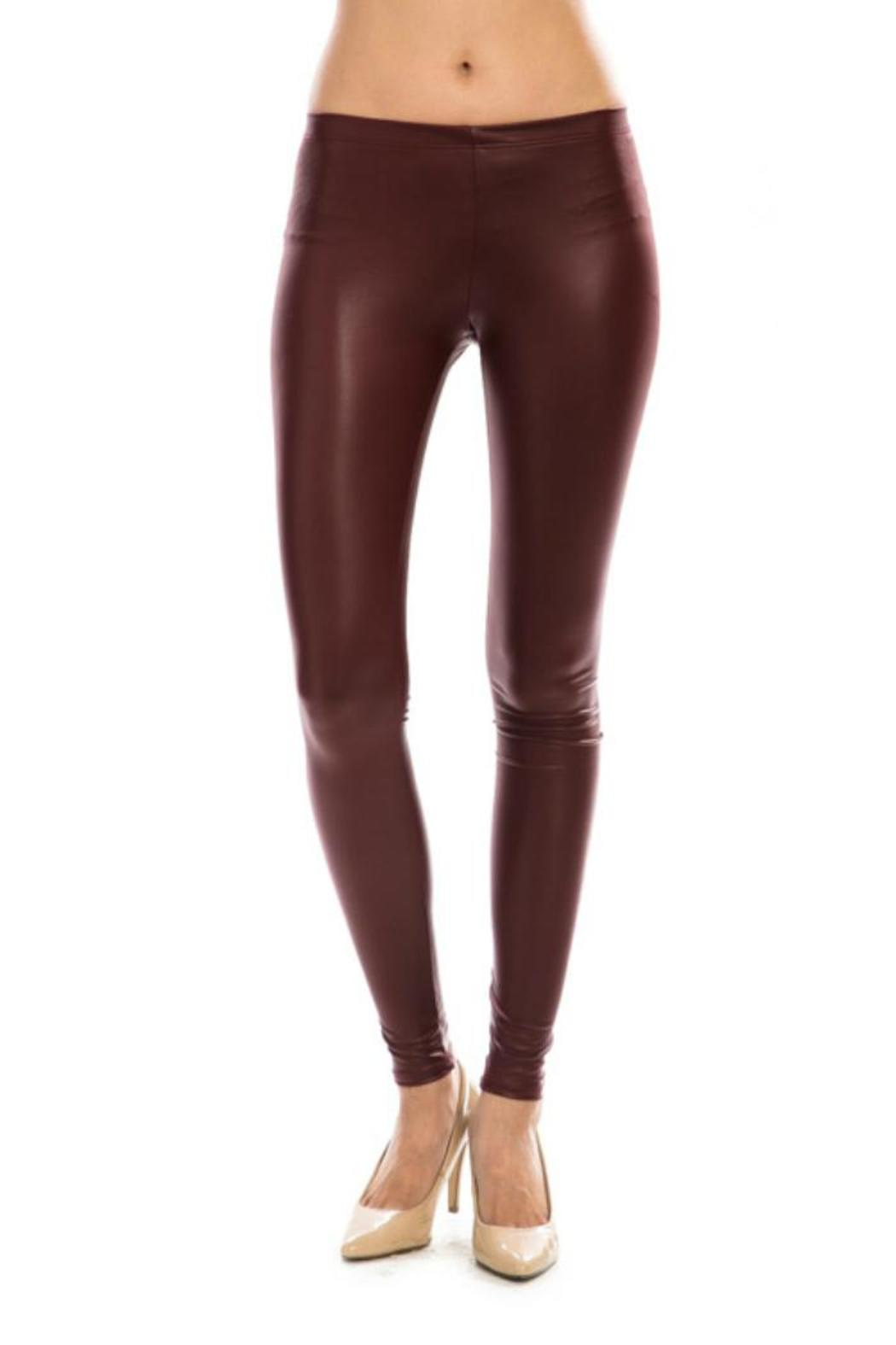 Friday Burgundy-Faux Leather Leggings from Kentucky by ...