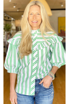 Ganni Frill Puff Sleeve Shirt Stripe - Product List Image
