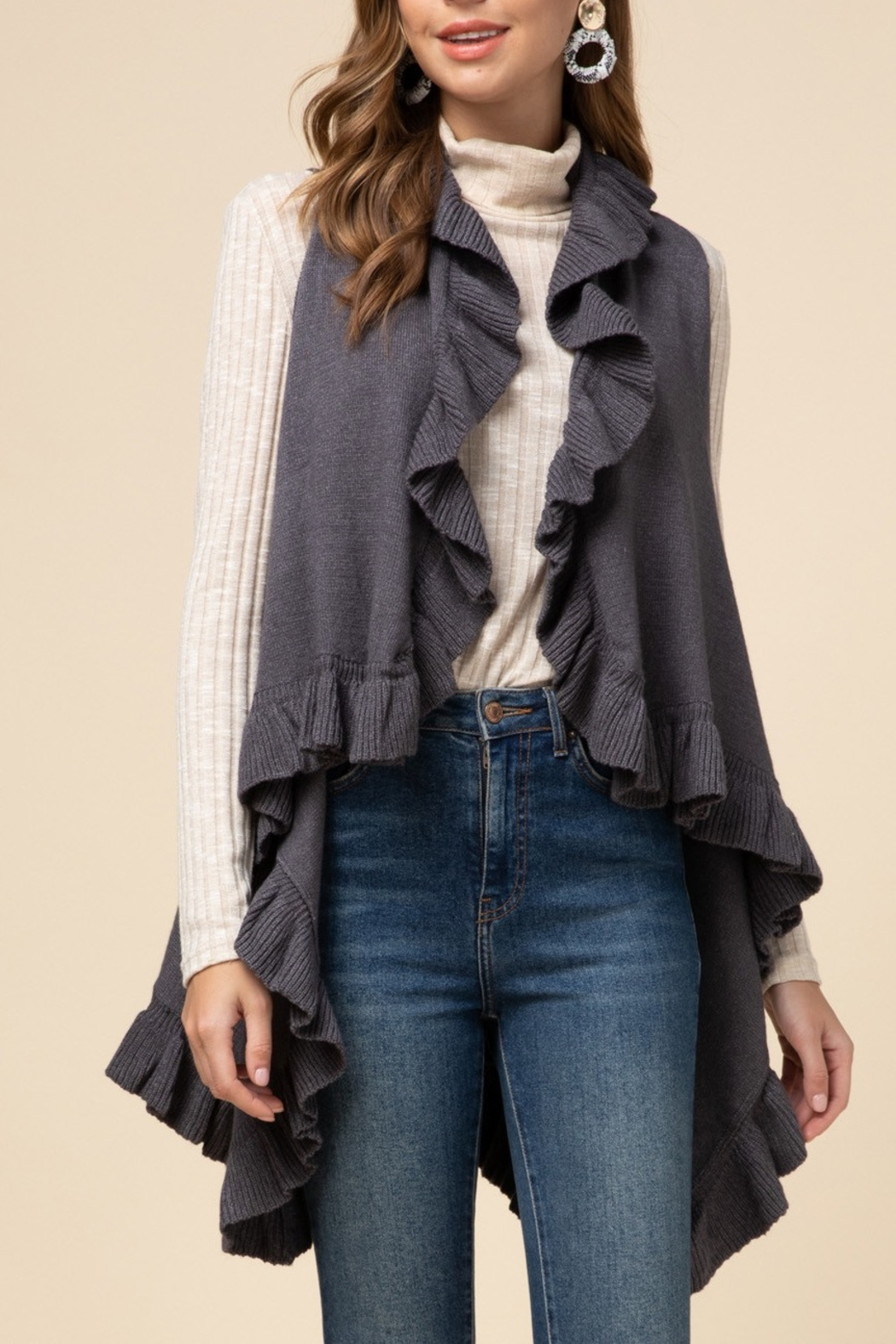 Entro  Frilly For Fall Vest - Main Image