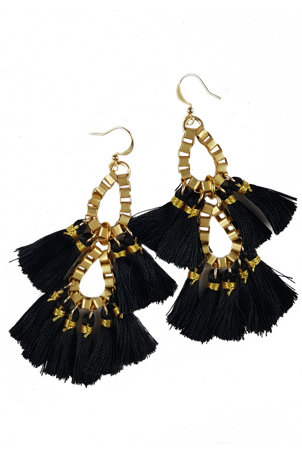 Fabulina Designs Fringe Benefits Chandelier Earrings - Front Cropped Image