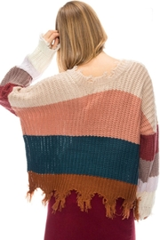 Fashion District Fringe Color-Block Sweater - Side cropped