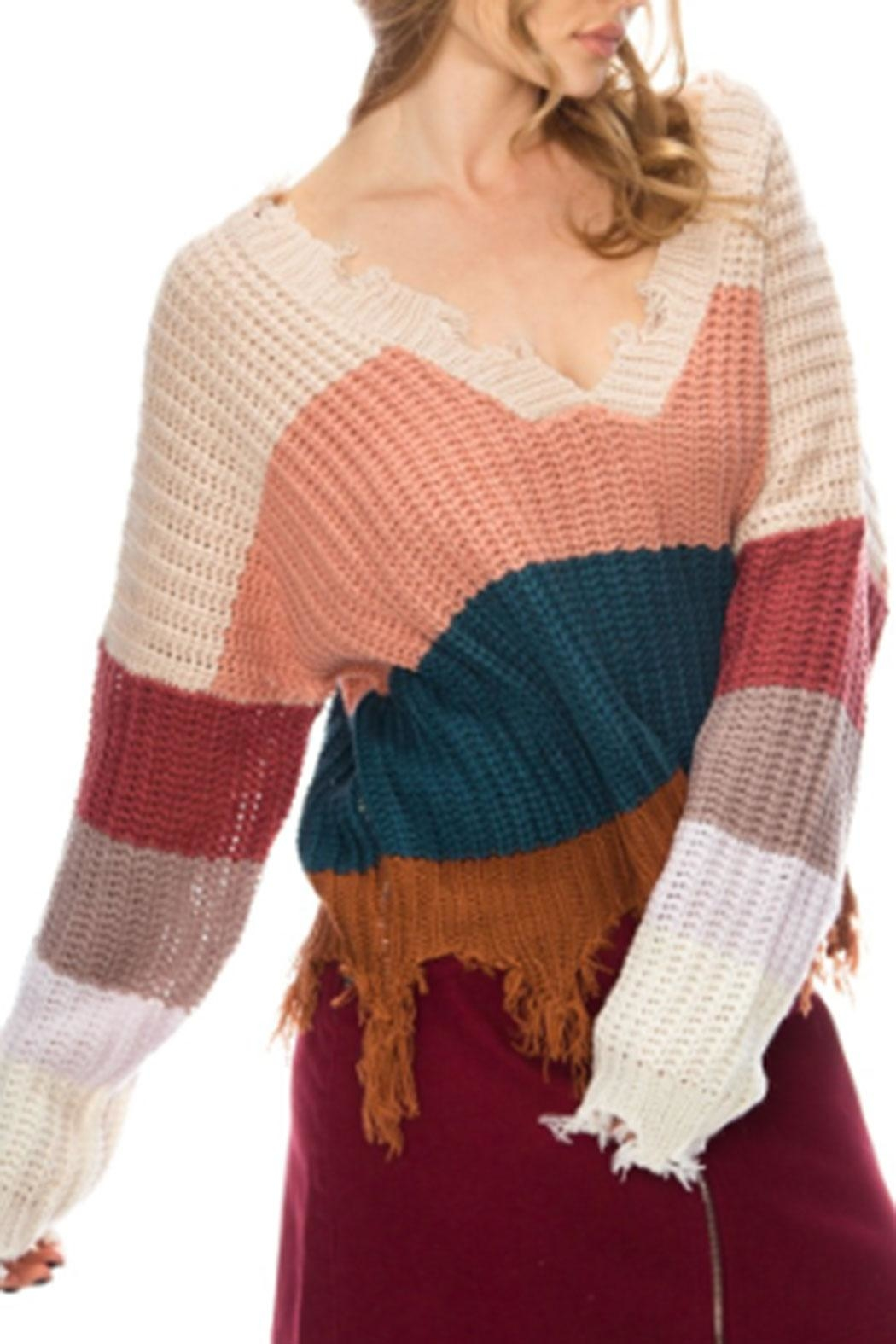 Fashion District Fringe Color-Block Sweater - Front Full Image