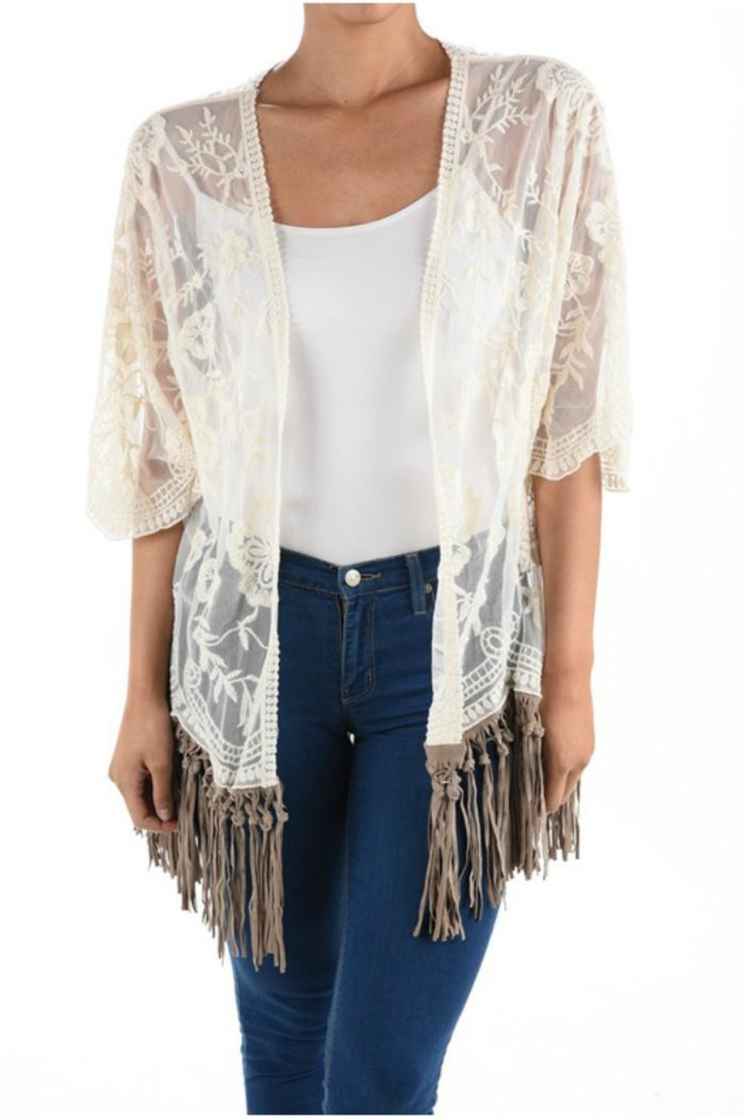 Origami Fringe Lace Top - Front Cropped Image