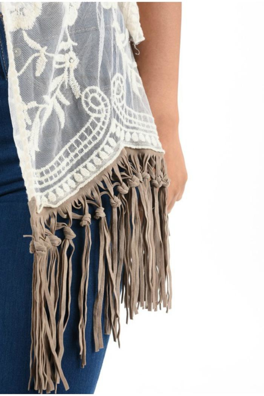 Origami Fringe Lace Top - Side Cropped Image