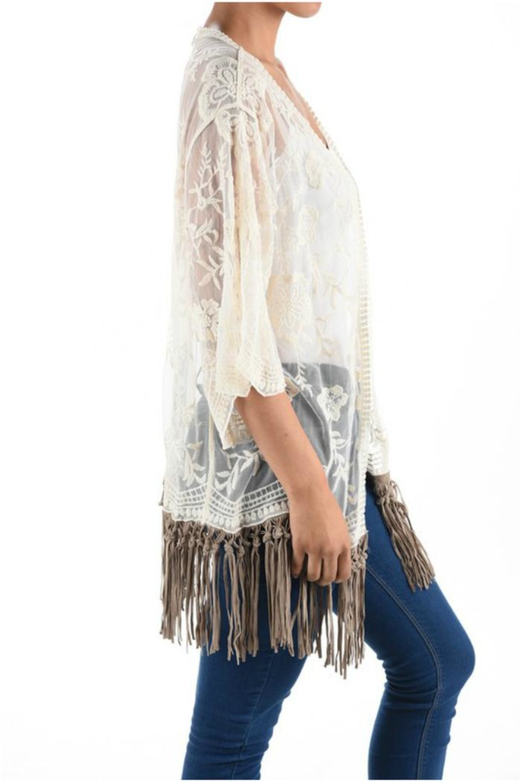 Origami Fringe Lace Top - Front Full Image