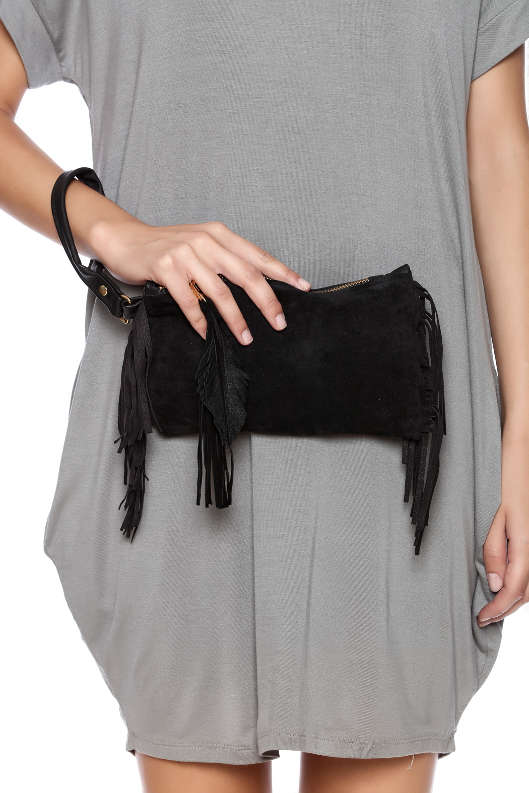 Fringe Leather Fringe Wristlet - Front Full Image