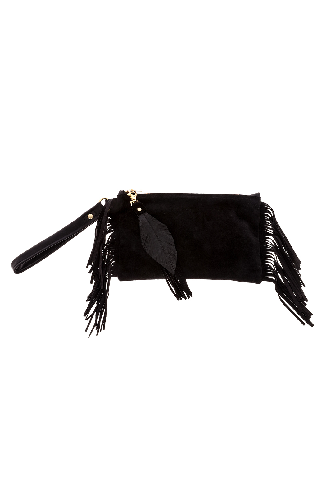 Fringe Leather Fringe Wristlet - Front Cropped Image