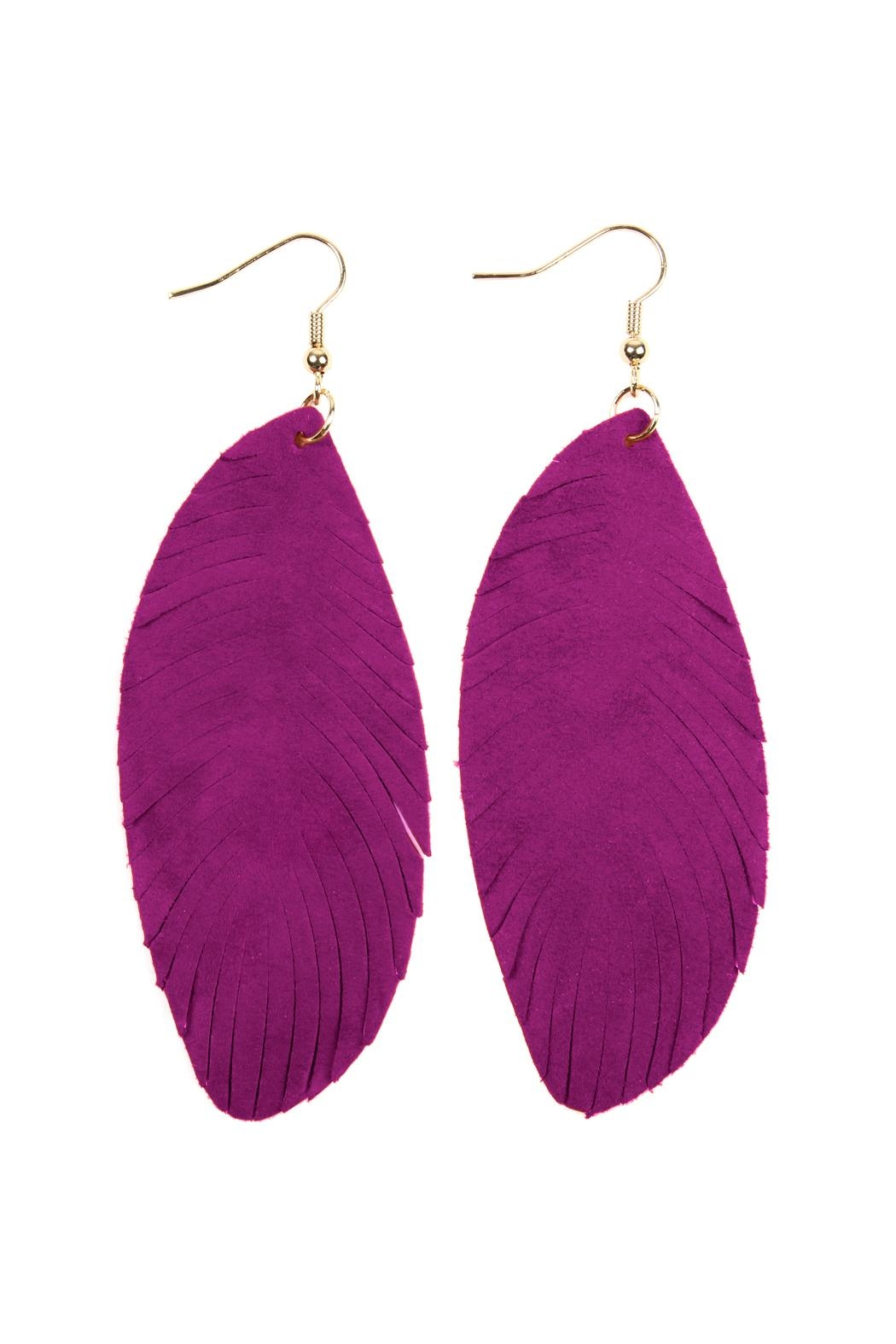 Riah Fashion Fringe-Leather Hook-Earrings - Front Cropped Image