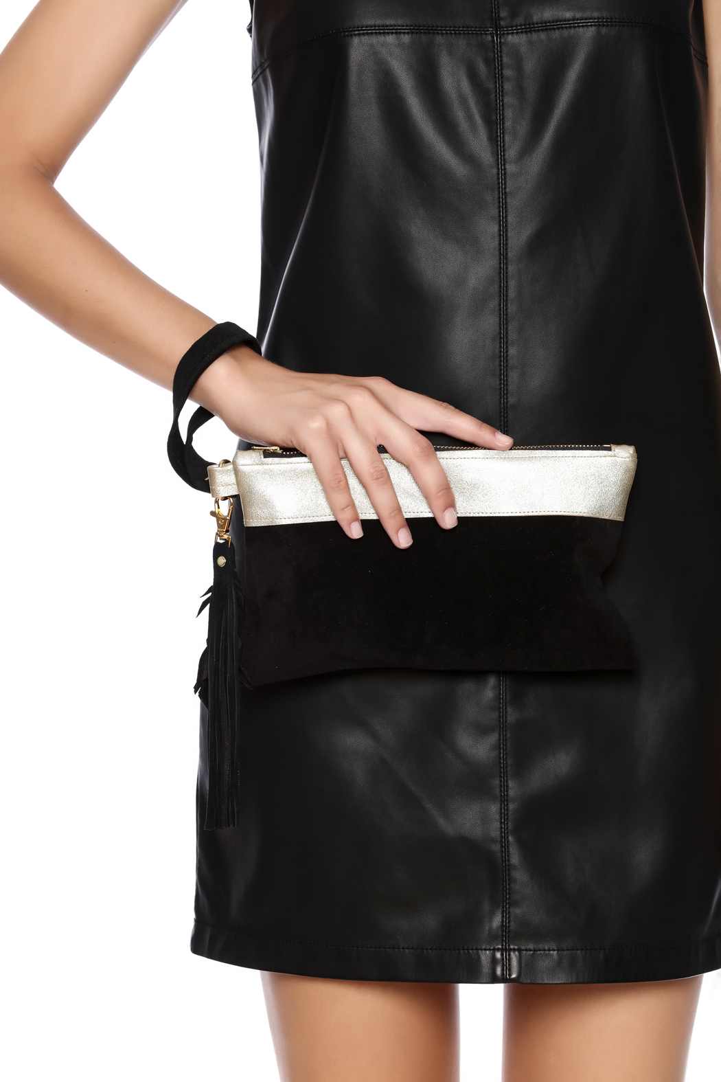 Fringe Leather Black Leather Wristlet - Front Full Image
