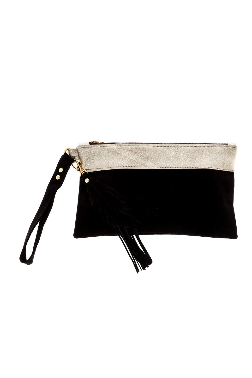 Fringe Leather Black Leather Wristlet - Main Image