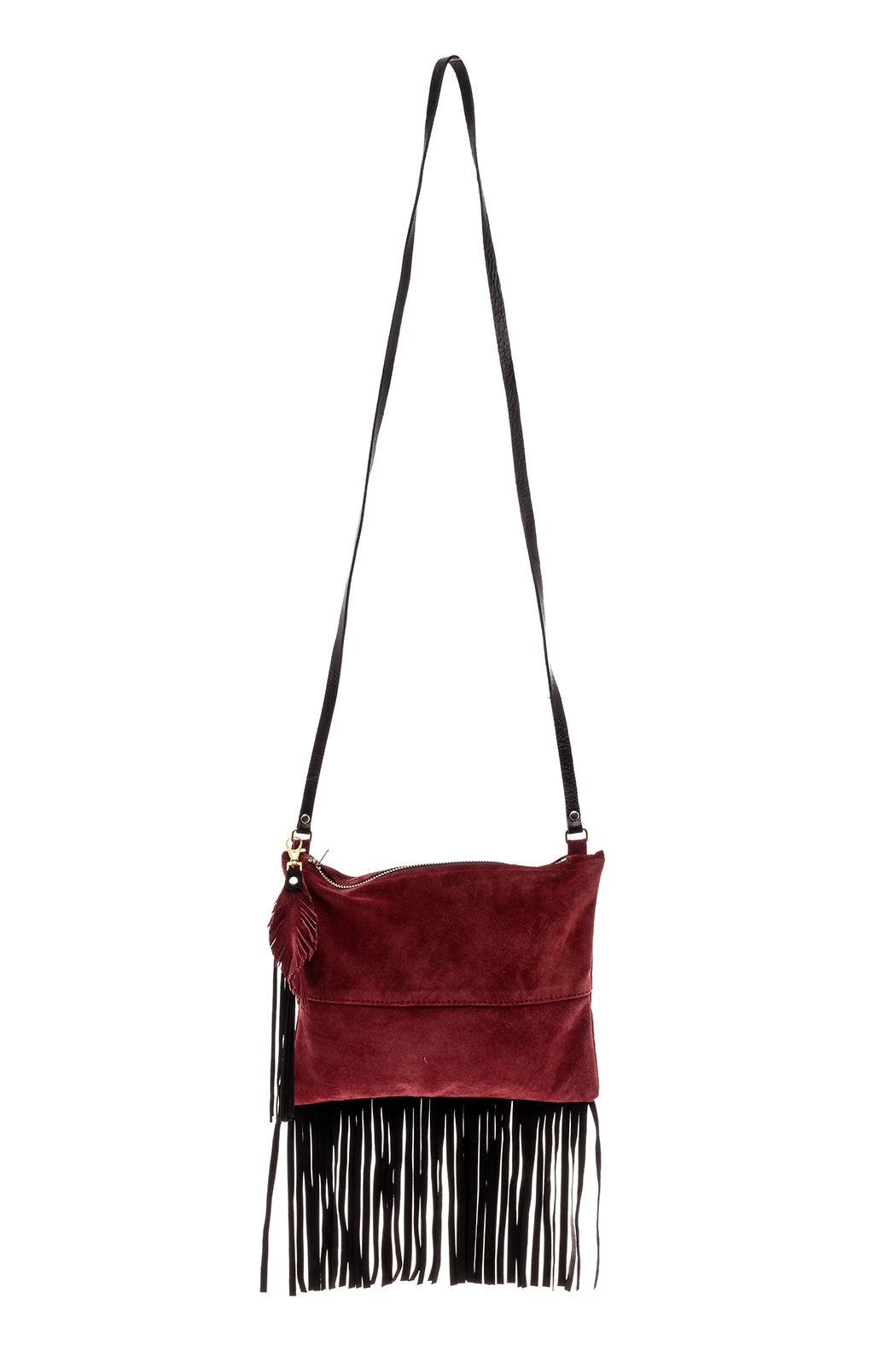 Fringe Leather Luxuries Suede Bag - Front Cropped Image