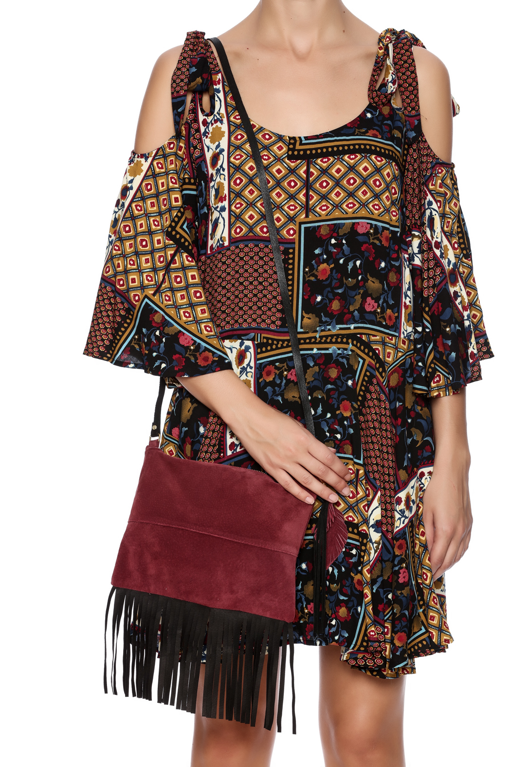 Fringe Leather Luxuries Suede Bag - Front Full Image