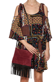Fringe Leather Luxuries Suede Bag - Front full body