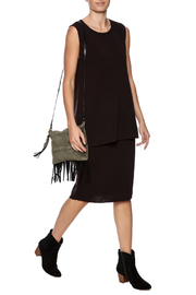 Fringe Leather Luxuries Suede Bag - Back cropped