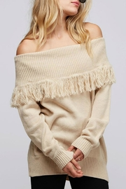 Fantastic Fawn Fringe Off-The-Shoulder Sweater - Product Mini Image
