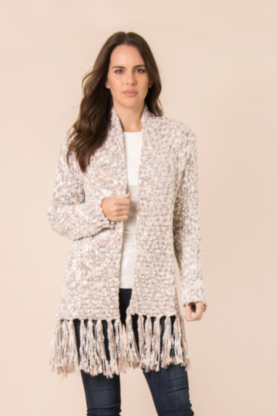 Simply Noelle Fringe Open Front Cardigan - Main Image