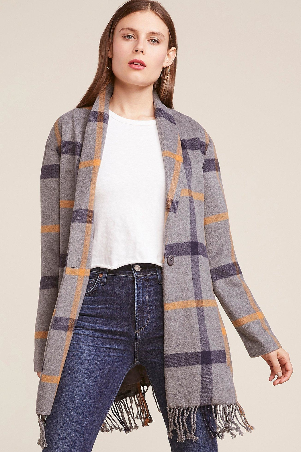 BB Dakota Fringe Plaid Coat - Main Image