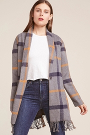 BB Dakota Fringe Plaid Coat - Front cropped