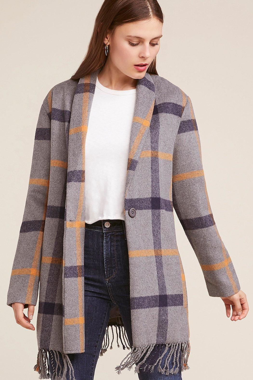 BB Dakota Fringe Plaid Coat - Front Full Image