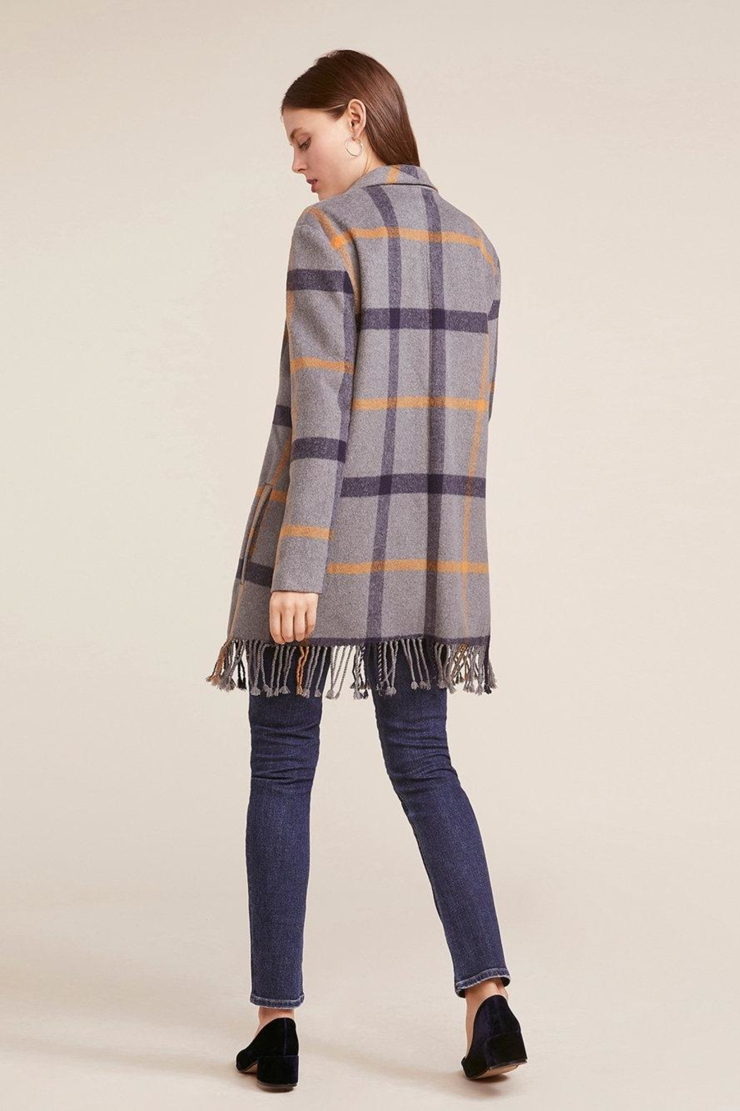 BB Dakota Fringe Plaid Coat - Side Cropped Image