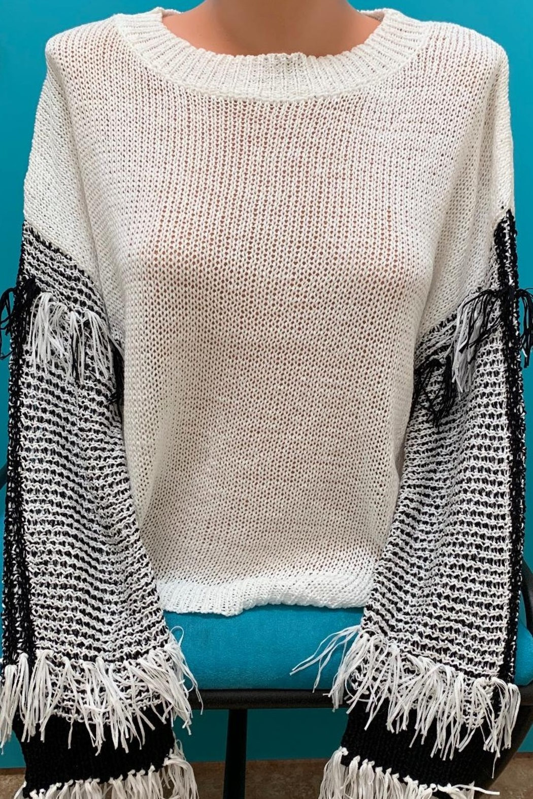 Fate Fringe Sleeve Lightweight Sweater - Main Image