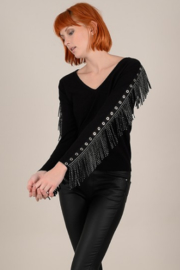 Molly Bracken Fringe sleeve sweater - Product Mini Image