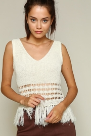 Line & Dot Fringe Sweater - Front cropped