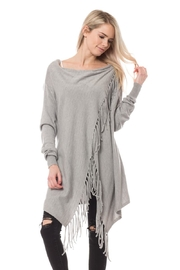 Lovetree Fringed Cardi - Heather-Grey - Product Mini Image