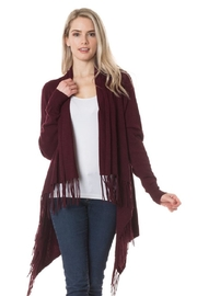 Lovetree Fringed Cardi - Wine - Product Mini Image