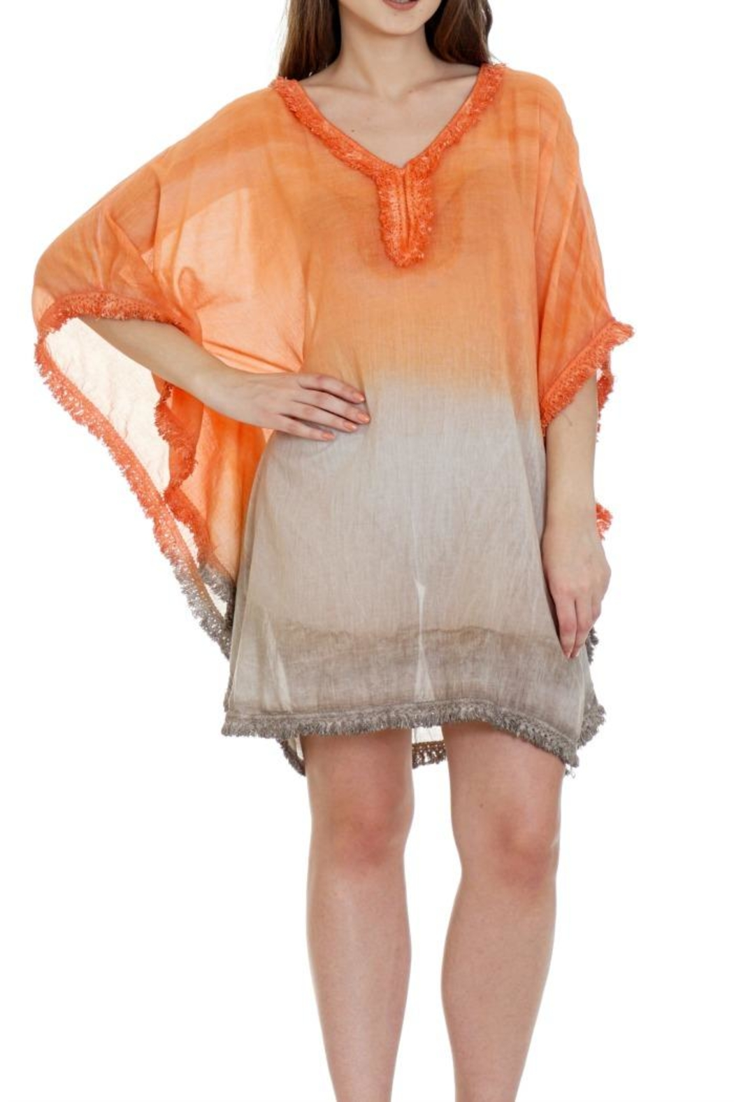 Patricia's Presents Fringed Cotton Caftan - Main Image