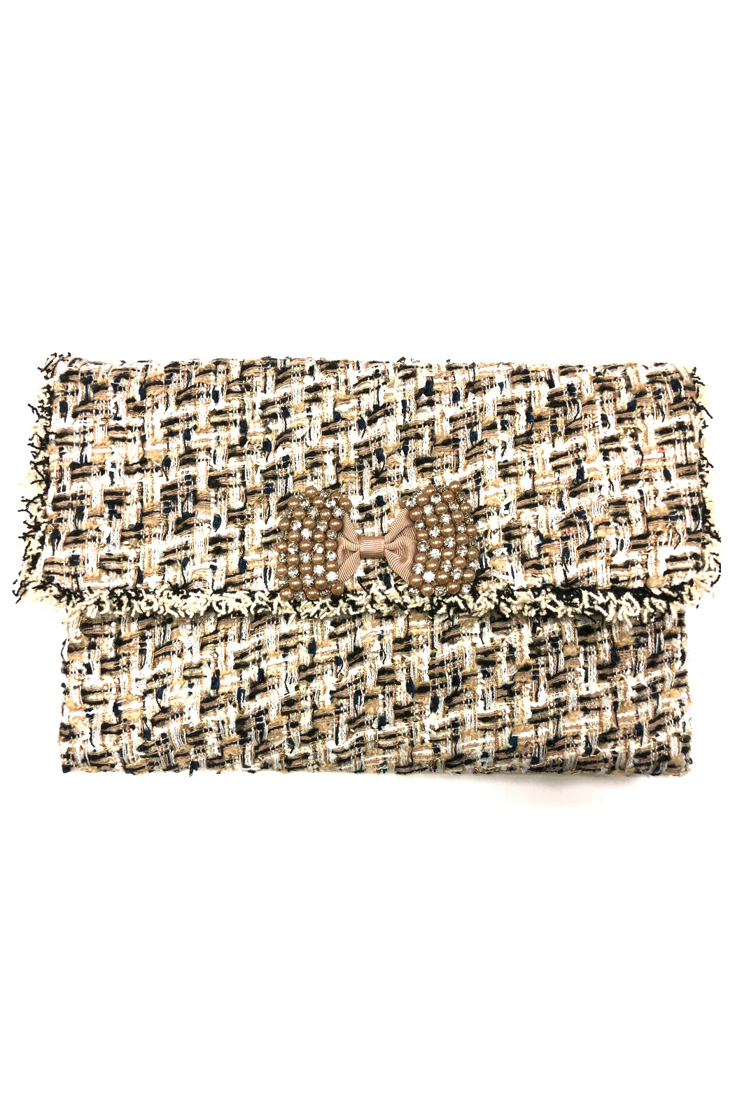 Sondra Roberts Fringed Edge Boucle with Stone Clutch - Front Cropped Image