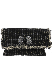 Sondra Roberts Fringed Edge Boucle with Stone Clutch - Product Mini Image