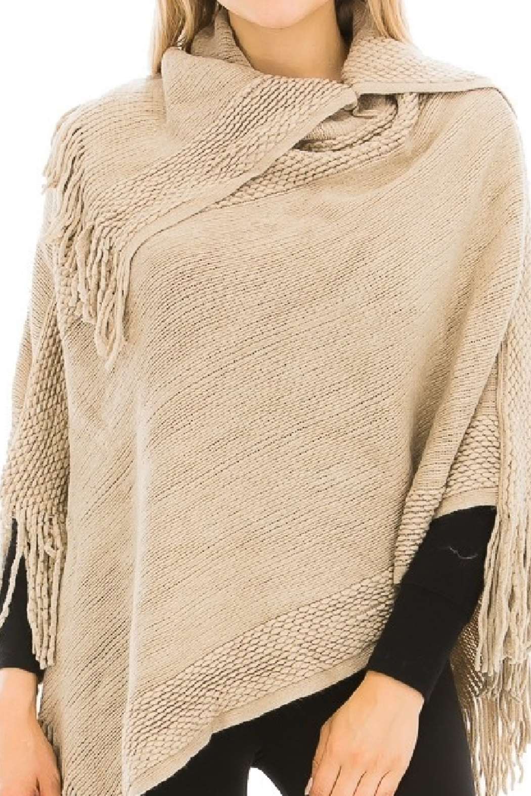 Cap Zone Fringed Knit Beige Poncho - Main Image