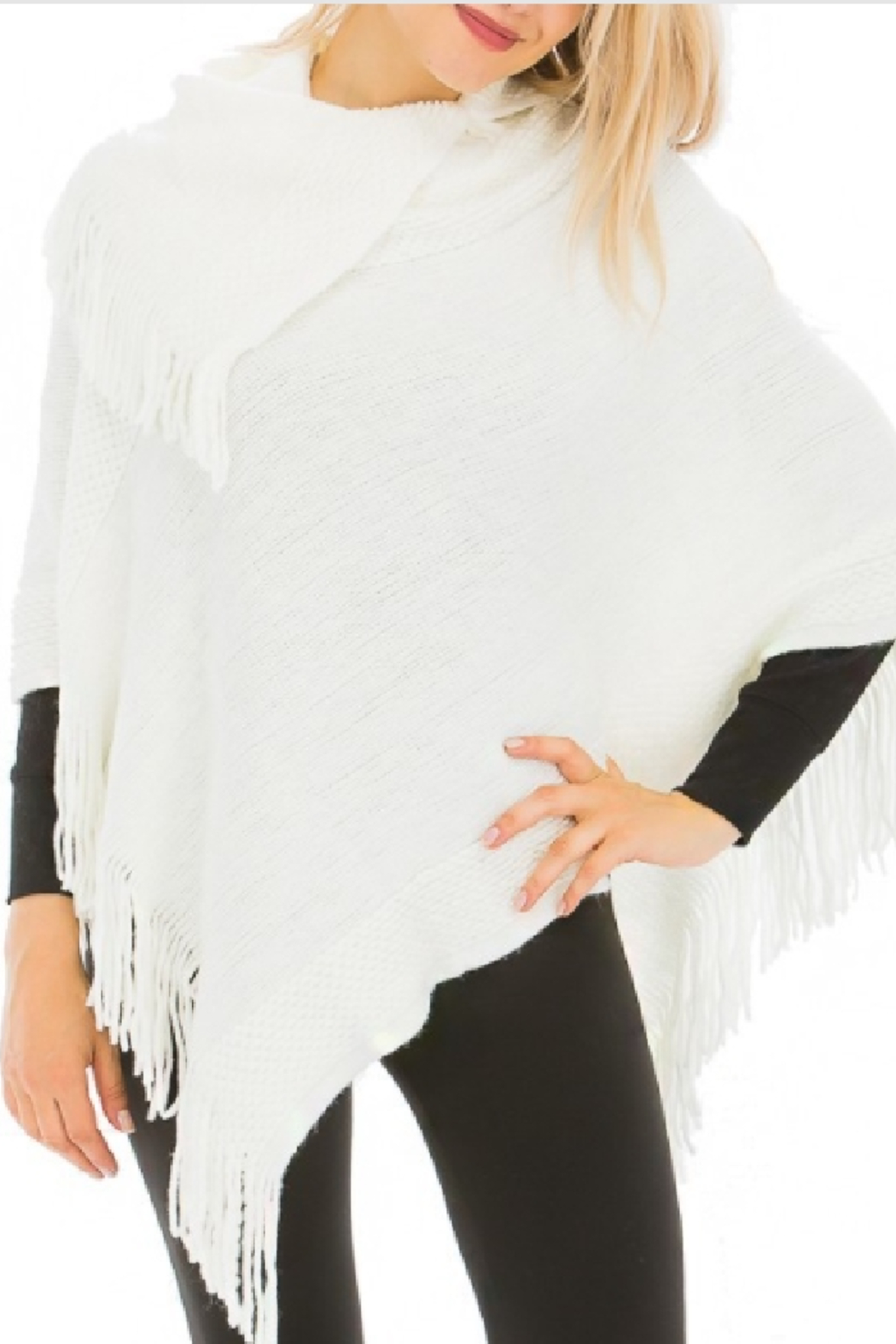 Cap Zone Fringed Knit Cream Poncho - Main Image