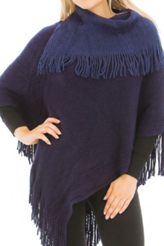 Cap Zone Fringed Knit Navy Poncho - Product List Image